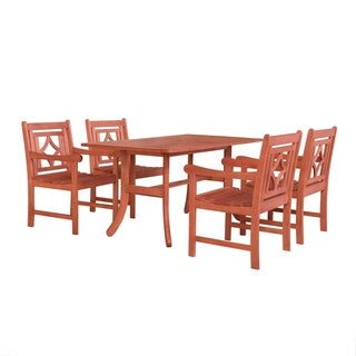 Havenside Home Hydaburg Outdoor 5-piece Wood Curvy Legs Table Dining Set