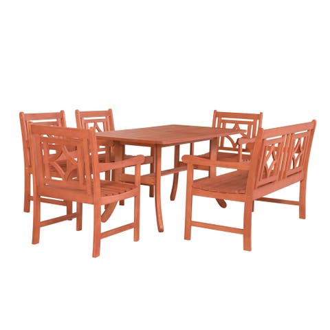 Malibu Outdoor 6-piece Wood Patio Curvy Legs Table Dining Set