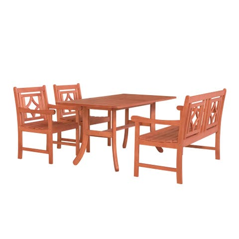 Malibu Outdoor 4-piece Wood Patio Curvy Legs Table Dining Set