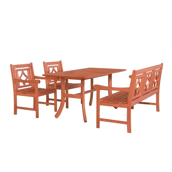 Havenside Home Hydaburg Outdoor 4-piece Wood Patio Table Dining Set