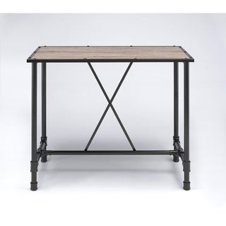 Industrial Style Rectangular Metal Bar Table With Wooden Top, Black and Brown