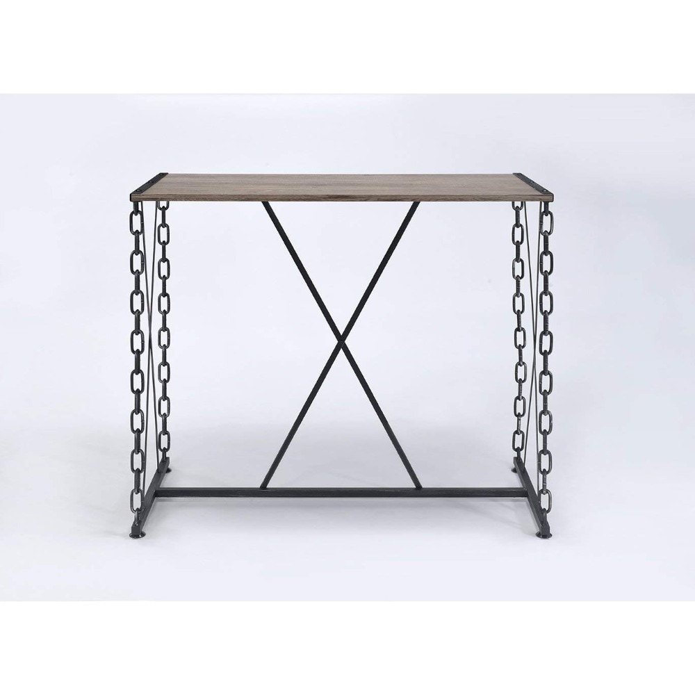 Style Rectangular Wood And Metal Bar Table Black Brown