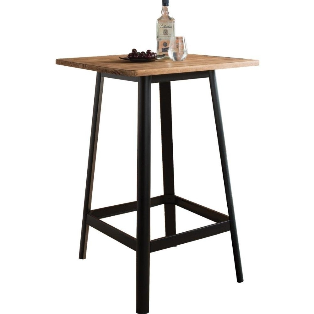 Surprising Transitional Square Shaped Wooden Bar Table With Metal Base Black And Brown Forskolin Free Trial Chair Design Images Forskolin Free Trialorg