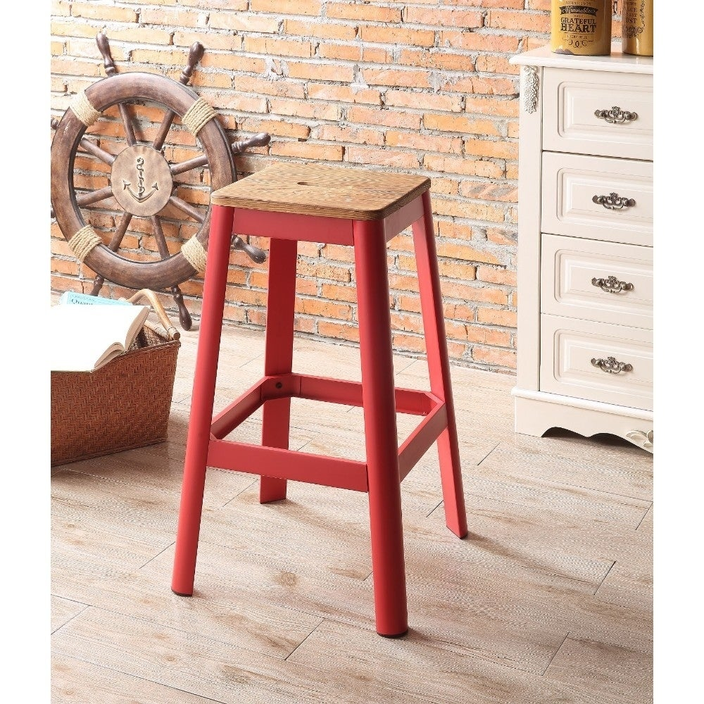 Remarkable Industrial Style Metal Frame And Wooden Bar Stool Brown And Red Evergreenethics Interior Chair Design Evergreenethicsorg