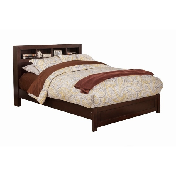 Shop Wooden Eastern King Size Platform Bed With Bookcase