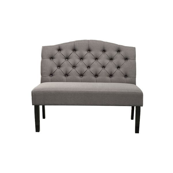 Polyester Upholstered Wooden Bench With On Tufted Back Gray