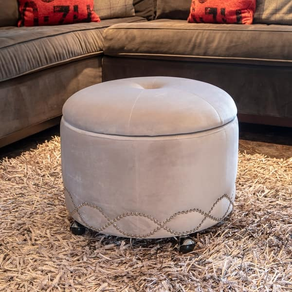 Wilmington Grey Upholstered Wheeled Storage Ottoman
