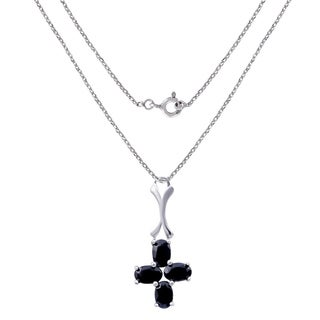 2.40 Carat Sapphire Sterling Silver Pendant By Orchid Jewelry