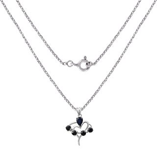 2.20 Carat Sapphire Designer Sterling Silver Pendant By Orchid Jewelry