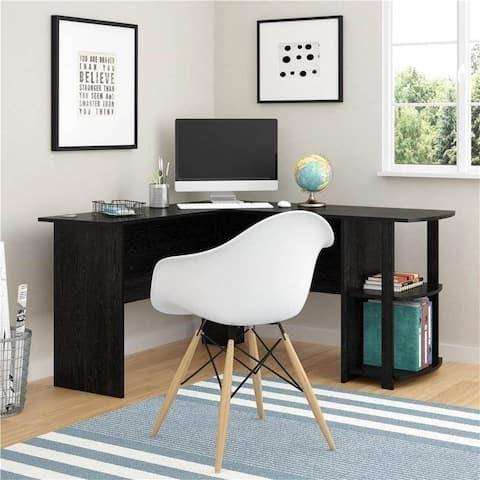 Wooden L-Shaped PC Laptop Table Computer Desk w/ Bookshelves