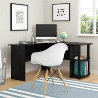Wooden  L-Shaped PC Laptop Table Computer Desk w/ Bookshelves