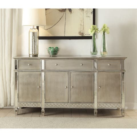 Rectangular Wood and Mirror Server with 3 drawers and 4 Compartments, Gold