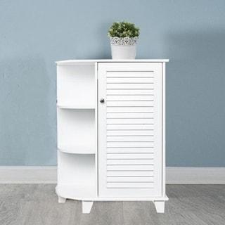 3-Tier Wood Furniture Bathroom 1 Door Floor Cabinet w/ Side Shelves