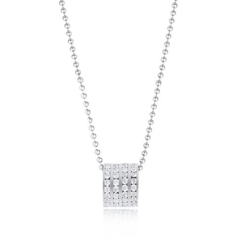 """0.88ctw CZ Beaded Charm Stainless Steel Pendant Necklace, 18"""""""