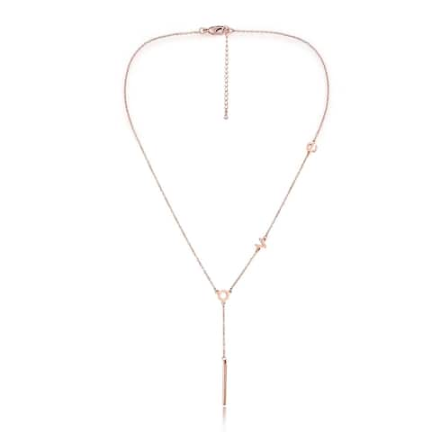 Stainless Steel Love Station Y-Necklace in Rose Gold Plating, 16inch