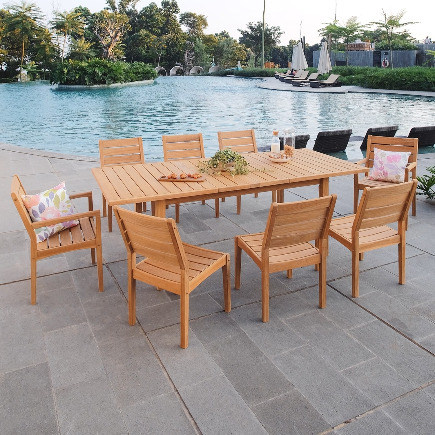 Excellent Cambridge Casual Andrea Teak 9 Piece Extendable Table Dining Set Inzonedesignstudio Interior Chair Design Inzonedesignstudiocom