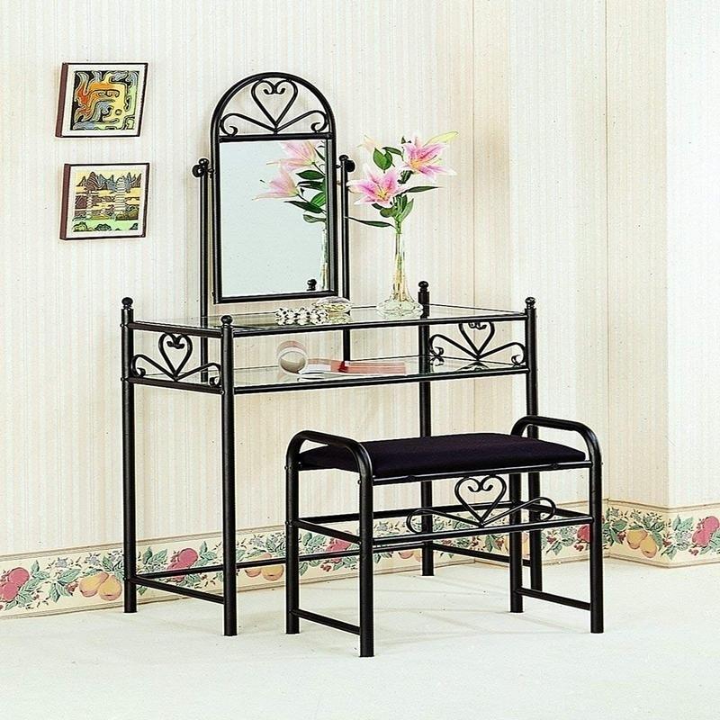 2 Piece Bronze Finish Gl Vintage Make Up Dresser Vanity Table Set