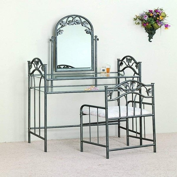 shop 3 psc bedroom furni metal glass makeup vanity table 11700 | 3 piece bedroom furni metal glass finish makeup vanity table set w stool 5419f604 418d 4536 bcd7 b65466fb1212 600