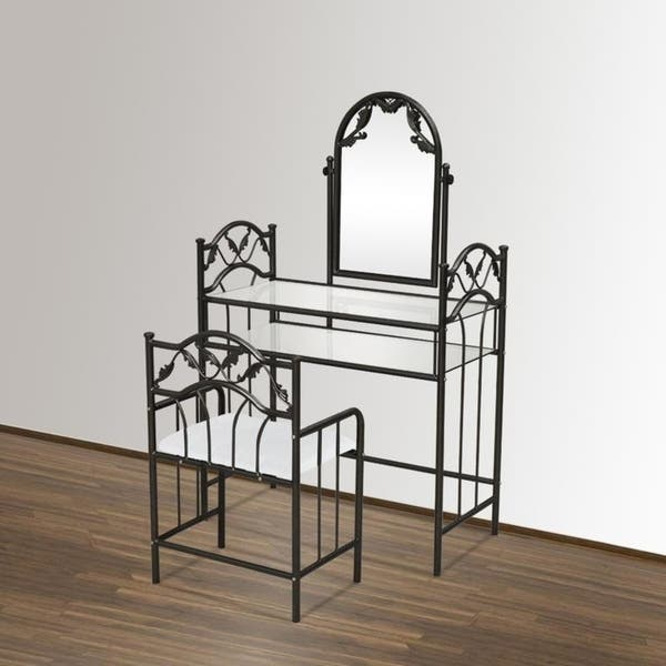 Shop 3 psc Bedroom Furni Metal Glass Makeup Vanity Table Set ...