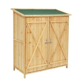 Kinbor Wooden Garden Shed Outdoor Tool Storage w/ Double Door & Chair