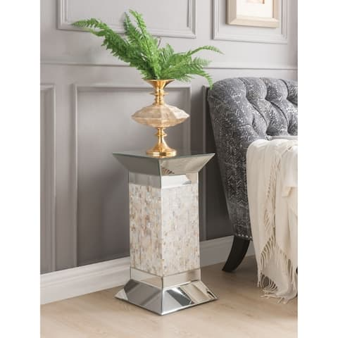 Modern Style Square Pedestal Stand with Beveled Mirrored Top, Silver