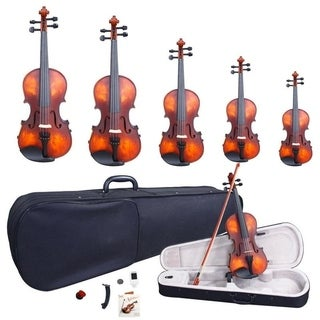 Glarry 5 Sizes Classic Solid Wood Violin-Bow &Strings&Tuner