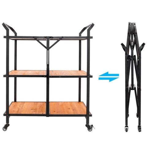 3 Tier Folding Island Wood Storage Utility Trolley Rolling Kitchen Cart