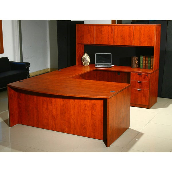 Boss Cherry Bow-front Workstation Desk with Hutch
