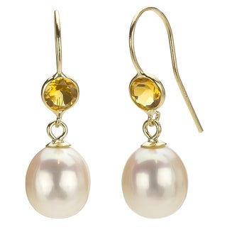 DaVonna 14k Gold White 7-7.5mm Pearl and Citrine Earrings with Gift Box