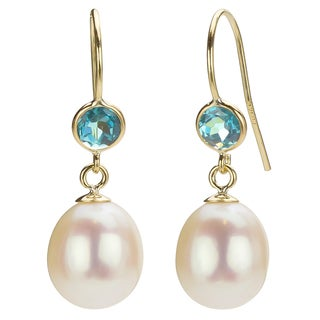 DaVonna 14k Gold White Pearl and Blue Topaz Drop Earrings (7-7.5 mm)