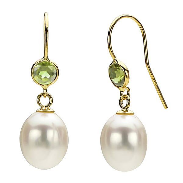 DaVonna 14k Gold White FW Pearl and Peridot Drop Earrings (7-7.5 mm)