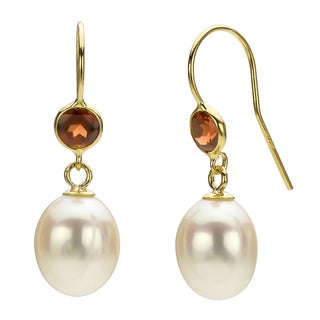 DaVonna 14k Gold White FW Pearl and Garnet Drop Earrings (7-7.5 mm)