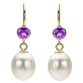 DaVonna 14k Gold White FW Pearl and Amethyst Drop Earrings (7-7.5 mm)