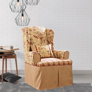 Sure Fit Lexington Taupe Washable Wing Chair Slipcover