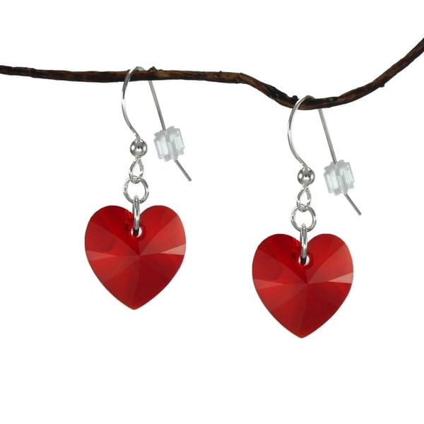 6124cee54 Handmade Jewelry by Dawn Red Crystal Heart Sterling Silver Earrings (USA)