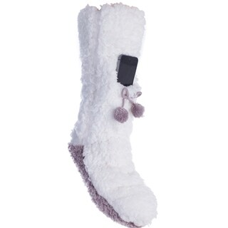 Lavender Infused Charcoal Grey Size Medium Fuzzy Slipper Sock With Cell Phone Pocket