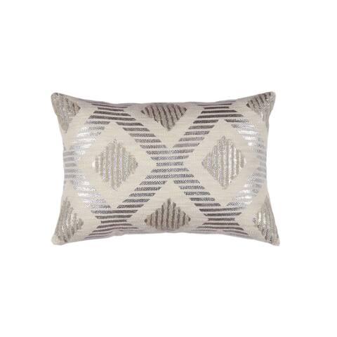 Silver Orchid Reisenhofer Geometric Linen Pillow