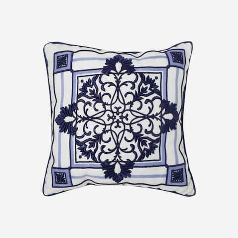 "Croscill Leland 16"" Blue Medallion Fashion Pillow"