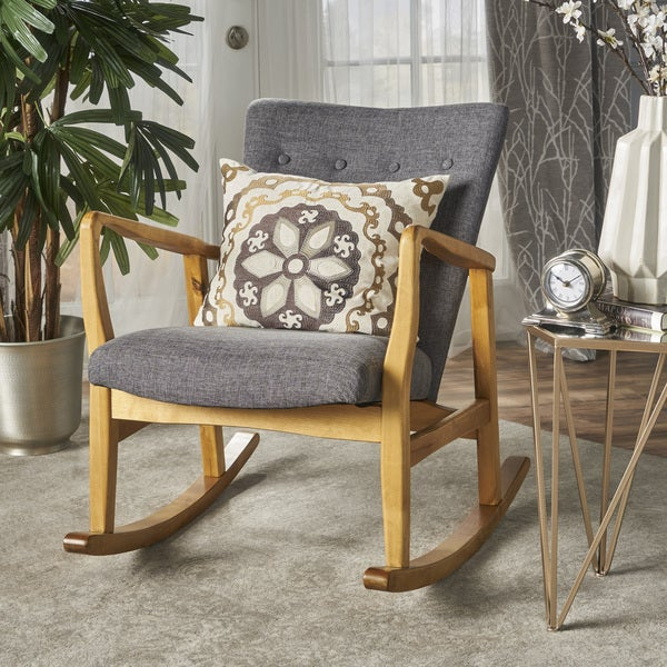 Shop Callum Mid Century Fabric Rocking Chair In Wheat By