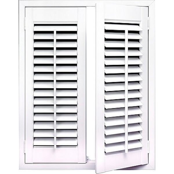 Shop white 2 1 4 inch slats plantation shutter 36 inch wide free shipping today overstock for 18 inch wide exterior shutters