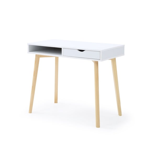 Contemporary White Austin Home Office Desk with Storage Drawers. Opens flyout.