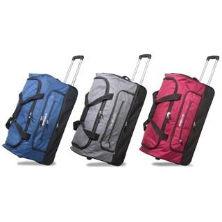 Dejuno 28-Inch Denim Lightweight Drop Bottom Rolling Duffel Bag