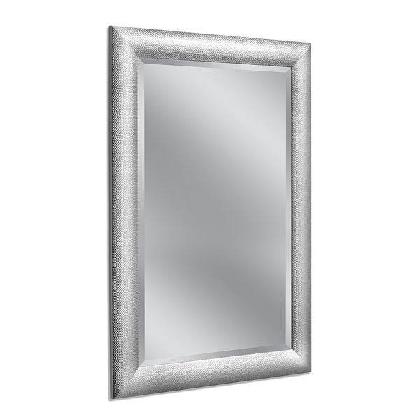 shop 30 x 42 hammered chrome wall mirror free shipping today overstock 25858759. Black Bedroom Furniture Sets. Home Design Ideas