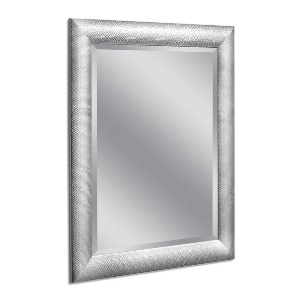 Headwest 28 x 34 Hammered Chrome Wall Mirror - 28 x 34
