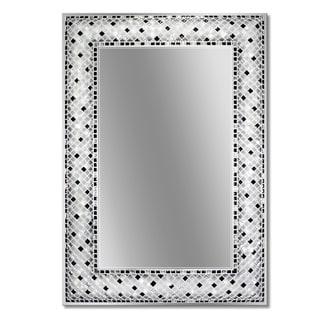 Headwest 22 x 32 Frameless Checkers Mosaic Rectangle Wall Mirror - Black/White - 22 x 32