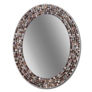 Headwest 23 x 29 Frameless Copper Oval Mosaic Wall Mirror - 23 x 29