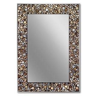 Headwest 22 x 32 Frameless Pebble Glass Mosaic Rectangle Wall Mirror - Earthtone - 22 x 32