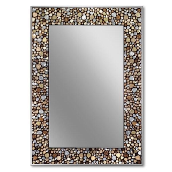 Headwest 22 x 32 Frameless Pebble Glass Mosaic Rectangle Wall Mirror - Earthtone - 22 x 32