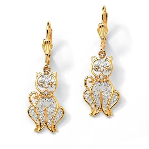 Yellow Gold-Plated Two Tone Filigree Cat Drop Earrings (38x17.5mm)