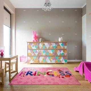 "Disney Princess Icons Kids Pink Area Rug (4'8"" x 6'6"") by Gertmenian - 4'8"" x 6'6"""